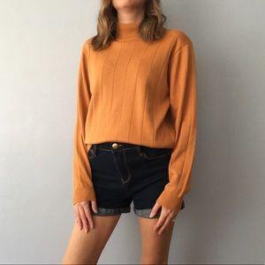 Dress Barn vintage mock collar sweater orange EUC